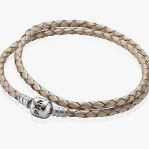 Pandora Champagne double wrap leather bracelet